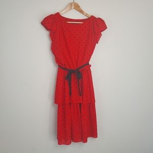Vintage 80s Polka Dot Summer Midi Dress Kitschy